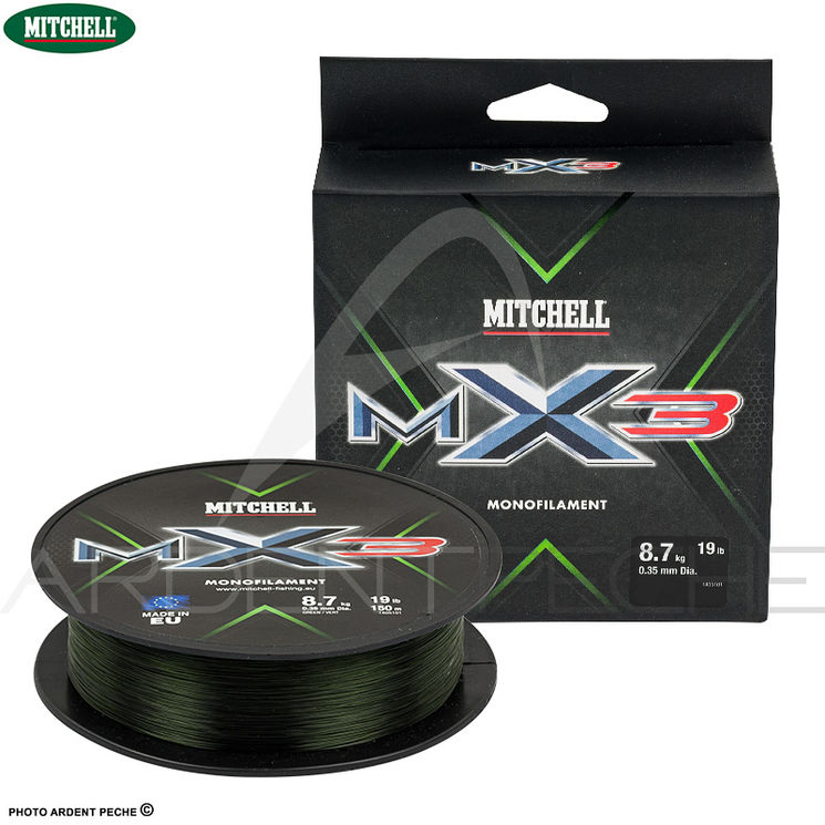 Fils nylon MITCHELL MX3 Low vis green 300m
